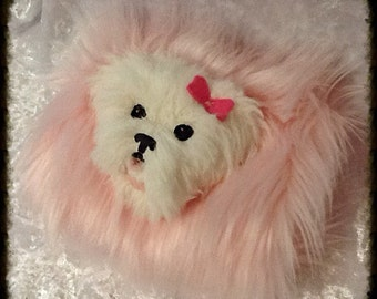 Child's Pale Pink Faux Fur Muff with Doggy Face