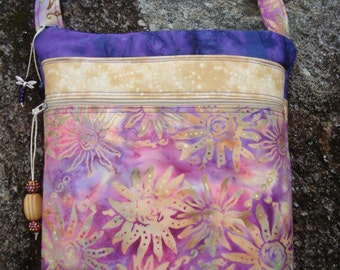 Purple Pink and Tan Floral Cross Body Bag Purse