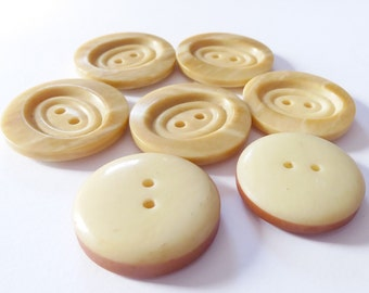 Vintage Buttons - Unique Bone or Thick Shell - 2 styles (8) 22 mm, Sandstone, Beachy