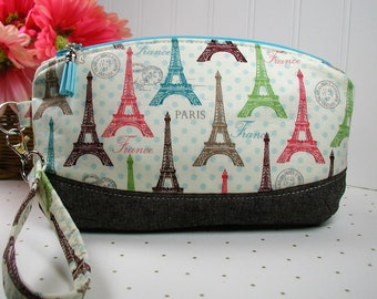 Clematis Clutch, Zipper Wristlet, Zipper Clutch ..Paris Spring Expo, Eiffel Tower