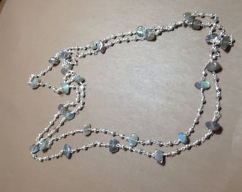 Pyrite silver plated and labradorite necklace long or double strand