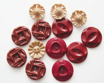 Vintage Brown Plastic  Buttons