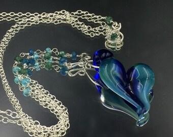 50% SALE Heart Pendant Lampwork Boro Glass Wire Wrap Gemstone Dangle Necklace Blue Handblown Blue Glass Heart Pendant Romantic Gift for Her