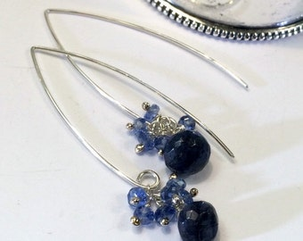 HOLIDAY SALE Blue Labradorite Earrings Kyanite Sterling Silver Long Dangle Earrings Elongated Drop Earrings Blue Gemstone Dangle Bridesmaid
