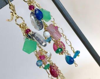 Long Bohemian Earrings Pink Tourmaline Earring Blue Ethiopian Opal Earring Wire Wrap Gold Fill Chain Tassel Earring Colorful Gemstones