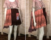 DeviDesigns Urban Hippie Upcycled Dress Junk Gypsy Paisley Studded T-Shirt Tunic Tiered Primitive Scrappy Patchwork Eco L XL