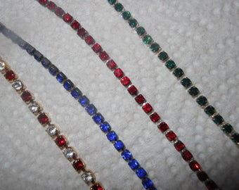 Rhinetone Bracelet or Necklace Choose your Color and Size