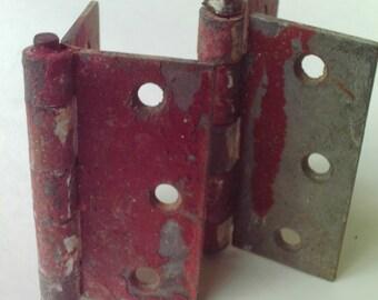 2 Rustic Vintage Hinges Industrial Salvage Steampunk Rusty
