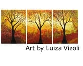 Original Acrylic Painting AUTUMN SYMPHONY Large Canvas Triptych Format Art by Luiza Vizoli Trees, Landscape