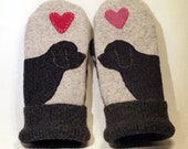 RESERVED FOR JILL Wool Felt Mittens Barbet Dog Fleece Linning Dark and Light Grey Dog Applique Leather Palm Eco Friendly Size S/M