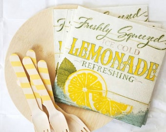 Lemonade Party Set - farmers market - for 8 - Wooden Forks, Napkins, Plates Available