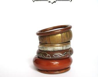 Bangle stack, bracelet stack,  set of 7, wood brass  set, Gypsy, Boho, Earthy, vintage, aged brass, dark wood bracelet: Vintage Collection