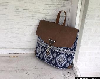 Diaper Backpack, Travel Backpack, Women's Knapsack, Navy Tribal Backpack, Southwestern Backpack