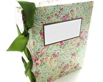 Recipe Book 8.5x11 size laminated floral -choose your own ribbon color
