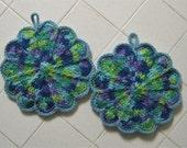 Crocheted Pair of Scalloped Potholders - Flower Garden