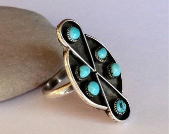 Vintage Turquoise Silver Zuni Dishta Ring Elongated Design Six Stones Size 6.5