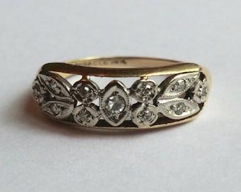 Vintage 14K Diamond Wedding Anniversary Band Two Tone Gold 11 Small Diamonds
