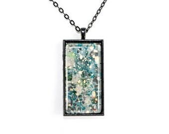 Splatter Painting Pendant - Abstract Art - Glass & Black Rectangle Necklace - Painters Palette Colorway: Gray, teal, gold, black