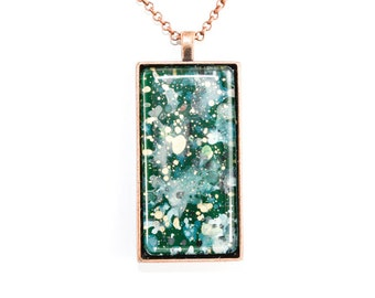 Splatter Painting Pendant - Abstract Art - Glass & Copper Rectangle Necklace - Emerald Isle Colorway: Dark Green, Teal, Gold, Gray, Black