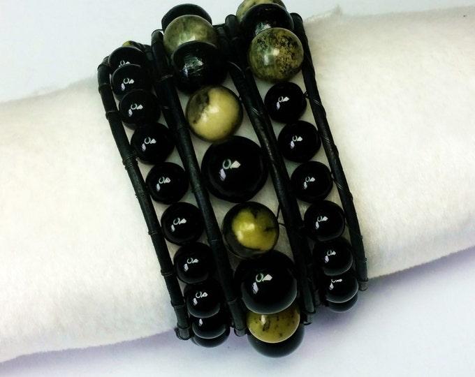 Adjustable Unisex Serpentine and Black Bead Triple Wrap Bracelet