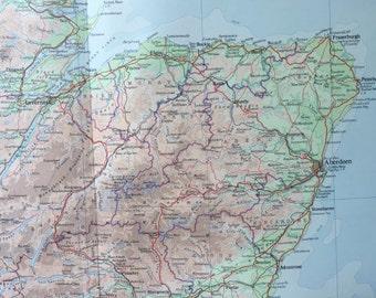 Vintage Map of Scotland - North - 1958 Large Map of Northern Scotland - Shetland - Orkney