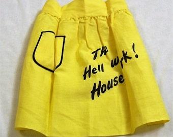 Vintage Apron, Half Apron, The Hell With Housework, Yellow Apron, Humorous Apron, Funny Saying on Apron