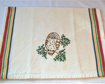 Kitchen Towels, Hand Embroidered, Hand Embroidery, Dish Towel, Retro Stripe Dish Towel, Owl in a Tree, Kitchen Dish Towel, Retro Kitchen