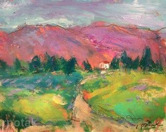 Expressive landscape painting, 11 x 14 inches, original art, impressionist acrylic,  Russ Potak
