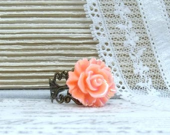 Orange Rose Ring Iridescent Ring Orange Flower Ring Bright Ring Summer Ring Adjustable Ring