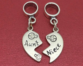 Sterling Silver Aunt Niece Charms SOLID 925 Break share Aunty