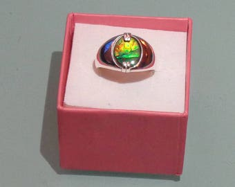 Ammolite/Ammonite Oval Cabochon Men's Sterling Silver Ring