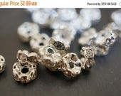 SWEET SALE Silver Plated Rhinestone Spacers with Clear Crystals (Round Curved) - 6mm - 20 pcs