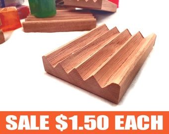 4 Spanish cedar Boardwalk soap dishes - 1.50 each - regular price 2.75 each - natural unfinished wood