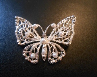 vintage butterfly silver and pearls