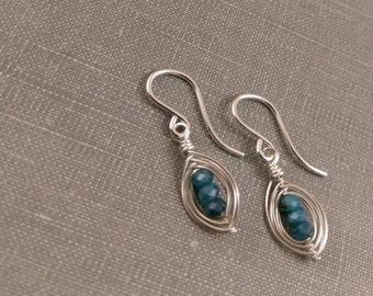 Apatite Pod Earrings in Sterling Silver