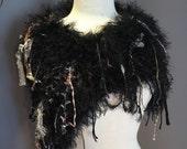 Dumpster Diva 'Turtle' Fringed Poncho with black faux fur base, Offset Fringed Knit Poncho, black capulet, black poncho, capulet, fringe