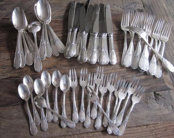 Antique set of French Louis IV silverplate flatware