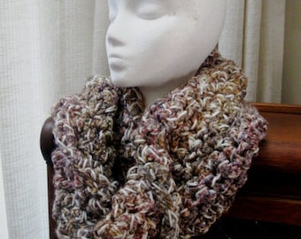 Chunky Cowl Neck Warmer Scarf Mobius Twist Muffler Tweed Rose Cream Mauve Honey Gold