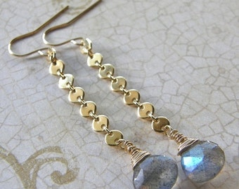 20% OFF Labradorite Long Drop Earrings, Gold Chain Earrings, Grey and Gold Dangle Earrings, Bridal Earrings, Boho Earrings, Modern Earrings
