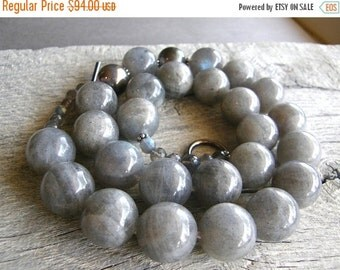 20% OFF Big Chunky Stone Necklace, Bold Labradorite and Sterling Silver Statement Necklace, Grey Gemstone Necklace