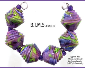 Lampwork Beads, 6 Lime Green, Lilac and Purple Half Ribbed Bicone lampwork beads, Bims Bangles, Made to Order, Purple Bicone lampwork beads