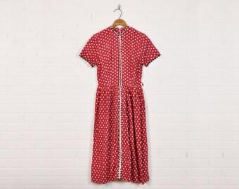Vintage 50s Dress 50s Pin Up Dress Rockabilly Dress Shirt Dress Day Dress House Dress Red Polka Dot Dress Polka Dot Print Dress Midi Dress M