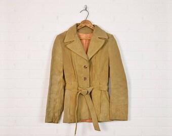 Vintage 70s Leather Jacket Brown Leather Coat Tan Suede Jacket Spy Jacket Belted Trench Coat 70s Jacket Hippie Jacket Boho Jacket S Small