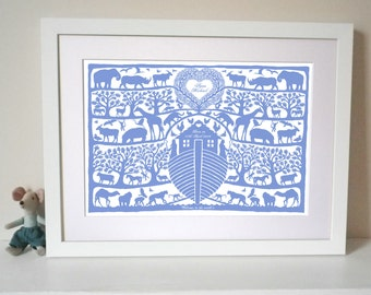 Personalised Christening, Baptism or New Baby Noah's Ark Tree Heart Print