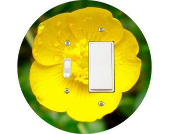 Buttercup Flower Toggle and Decora Rocker Switch Plate Cover