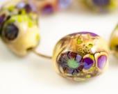 Ponderings in Purple -- Lampwork Glass Nugget Beads