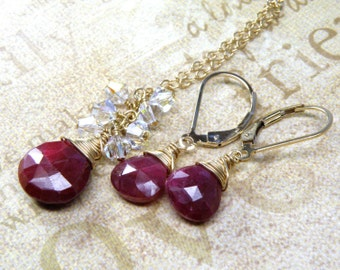 Ruby Jewelry Set, Necklace and Earrings, Gold Filled, Red Stone Gemstone, July Birthstone, Birthday Gift, Christmas Ready to Ship, Handmade