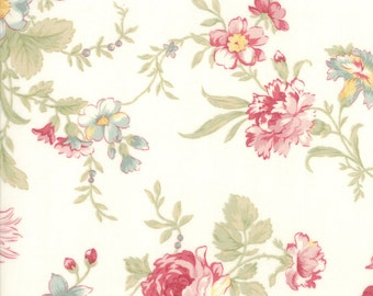 Porcelain White Poetry Prints Fabric - Moda - 3 Sisters - 44130 11