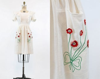 30s Dress Cotton Pique Pinafore XS / 1930s Vintage Dress Embroidered / Trudy Hall Dress