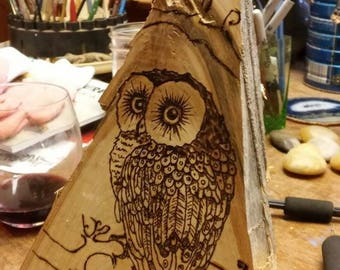 Wood burned Owl,upcycled fire wood,maple,sculpture,pyrography,rustic,folk art.